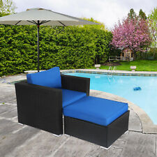 Patio Outdoor Furniture Lounge Chair with Ottoman PE Rattan Cushioned Sofa Couch