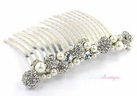 Bridal Wedding Silver Diamante Crystal & Pearl Cluster Hair Clip Slide Comb HC16