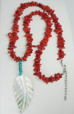 Genuine Red Coral Nugget Necklace, Mother-of-Peal Pendant, Sterling Silver Clasp