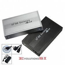 CAJA EXTERNA USB CARCASA DISCO DURO 3,5 IDE EXTERNO CON CABLES ALUMINIO NEGRO