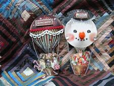 Vintage Style Fancy Hot Air Balloon Snowman Pressed Paper Ornaments Set of 2