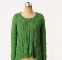 Anthropologie Sweater Sparrow Howth Small Green Cotton Cable Knit Womens