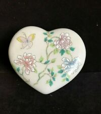 Takakashi~Cho Cho~Heartshaped PorcelainTrinket Box~Butterfly, Flowers~Japan