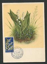 San Marino MK 1957 Flora Muguet Lily maximum CARTE MAXIMUM CARD MC cm d2480
