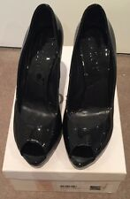 DIOR - Miss Dior Classic Black Patent Peep Toe Heels Sz 39