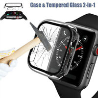 Clear Full Cover Case gehärtetes Glas für Apple Watch Series 6 5 4 3 SE 40/44mm