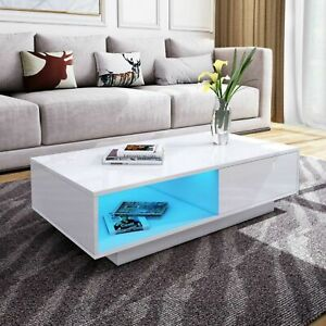 High Gloss LED Coffee Table Wooden Drawer Storage Modern Living Room Furniture
