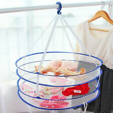Drying Rack Folding Hanging Clothes Laundry Bra Sweater Basket Dryer Net 2 layer