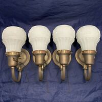Set of four quality early antique brass sconces with original patina 85C