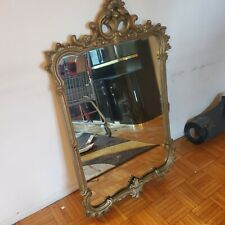 Heavy Antique Wood Mirror in Fancy Carved wood victorian Gothic style luis xv