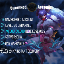 League of Legends Account EUW 40-50k BE Lol Smurf Lvl 30+ UNVERIFIED Unranked