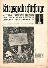 Zeitschrift 1950 Kriegsgräberfürsorge Mitteilungen und Berichte 26. Jahrgang