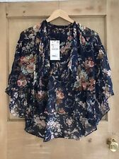 ZARA FLORAL SHEER top size XS 6 8 CAPE SLEEVE navy Blue BNWT