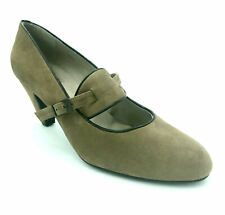 Cefalu Ladies Womens Slip On Mid Heel Smart Taupe Suede Bar Court Shoes 40.5