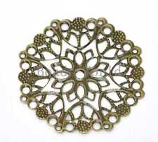 30 Bronze Tone Filigree Flower Wraps Connector Embellishments Findings 50mm