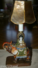 "12 1/4""T VINTAGE SATSUMA ELEPHANT LAMP W/SHADE MORIAGE SITTING DIETY"