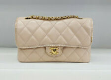 Stunning RARE CHANEL Blush Pink Lambskin Single Flap Shoulder Bag Gold HDW Ex