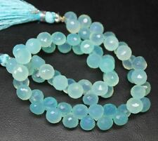 "Blue Aqua Chalcedony Faceted Gemstone Loose Onion Drop Craft Bead Strand 7"" 7mm"
