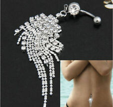 Crystal Tassel Chain Dangle Body Piercing Jewelry Navel Belly Bar Button Ring