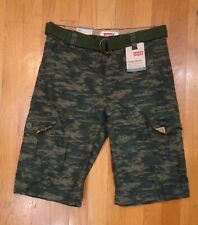 NWT LEVI'S CARGO SHORTS GREEN DIGI CAMO RELAXED FIT BOYS SIZE 14 $38