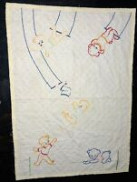 Vintage Hand Sewn Stitched Handmade Baby Toddler Crib Quilt Blanket Lamb Trapeze