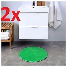 2x IKEA BADAREN Non-slip Microfibre Bathroom Round Bath Mat Bathmat 55cm Green