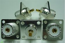 5 SO-239 Silver Plated, Teflon Dielectric, Chassis Mount, Gold Plated Center Pin