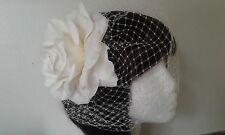 "Bridal  Ivory Rose headpiece with 9"" birdcage veil. Headdress,comb"