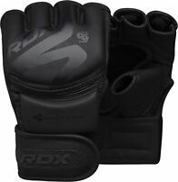 RDX Leather Boxing MMA Gloves Grappling Fighting Punch Bag Training Black