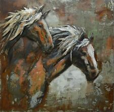 INCREDIBLE Outdoor 3D Metal Wall Art Alfresco 100 x 100 Large WILD HORSES Horse