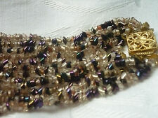 STUNNING VINTAGE MULTI STRAND SEED BEAD CHOKER NECKLACE GOLD TONE ORNATE CLASP
