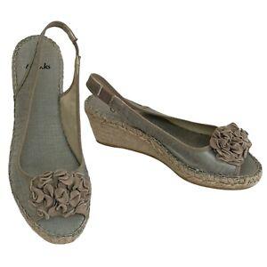 CLARKS Rope Jute Wedge Golden Metallic Fabric Slingback Sandals Size 5 UK