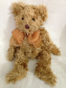 "Russ Berrie Chestnut Shaggy Beige 14"" Plush Stuffed Bear - Fall Ochre Added Bow"