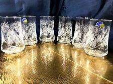 Crystal Glasses Set of 6 Beverage 7oz Highball Glass Russian Cut Neman Vintage