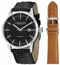 Stuhrling Original 555A 01 Men's Classic Ascot II Swiss Quartz Black Dial Watch