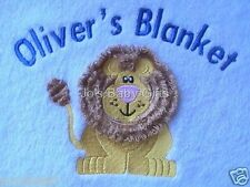 New Personalised baby blanket, with lion design, Great for baby or Toddler Gift