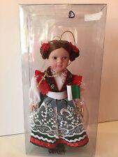 """Santa's World Kurt Adler Handcrafted 7"""" Porcelain Girl Doll Ornament ITALY"""