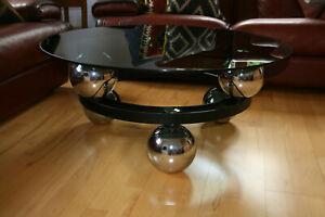 Couchtisch Salontisch  Glas Chrom Space Age Sputnik Orbit 70er