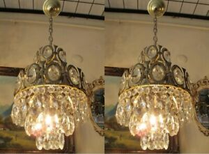 PAIR OF Antique Vnt.French Basket Style Crystal Chandelier Lamp Light 1960's..