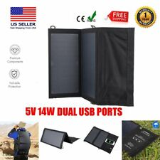 5V 14W Folding Solar Panel Portable Battery Charger For Camping Hiking USB Ports