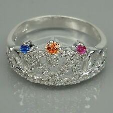 LIKABLE! RUBY & ORANGE-BLUE-WHITE SAPPHIRES STERLING 925 SILVER CROWN RING SZ#6
