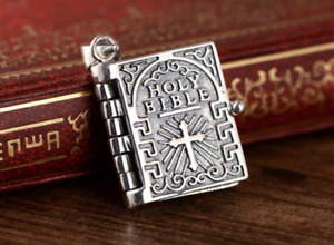 Sterling Silver Holy Prayer Bible Open Pages Locket Charm Pendant