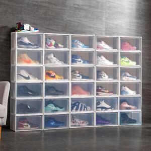 10 Schuhboxen transparent stapelbar Schuhaufbewahrung Box Kunststoff Schuhkarton