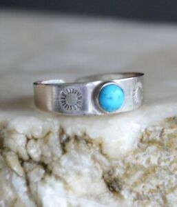 Toe ring, sterling silver toe ring, turquoise silver toe ring (R543)