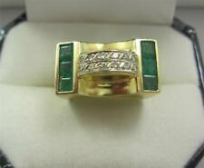 Superb 1940's 18ct gold emeralds and diamonds cocktail heavy ring