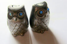 Very sweet Vintage Pewter Owl Salt and pepper pots . Cruet set . Birds