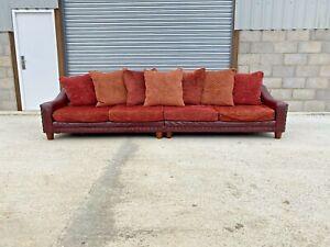 Tetrad Hayden Long Sofa in Oxblood Leather Hide & Vermillion Red Fabric