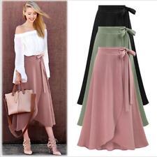 Women's Boho High Waist Beach Wrap Maxi Split Skirt Summer Long Dress BS
