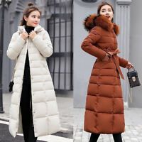 Women's Winter Hooded Down Warm Jacket Long Quilted Coat Puffer Fur Collar Parka