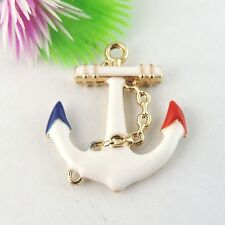 12pcs Vintage Style Golden Enamel Tone Alloy Anchor Craft Pendant Charm30*26*3mm